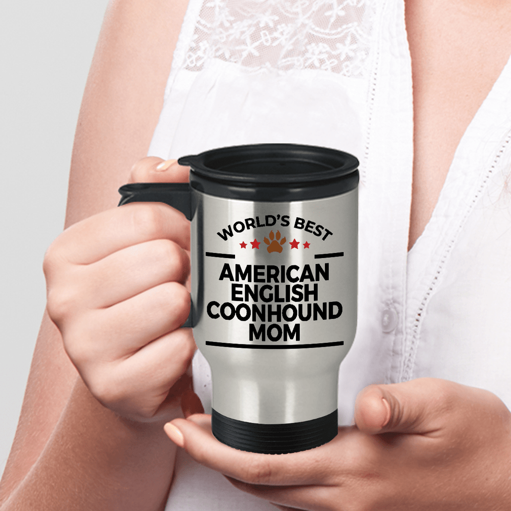 American English Coonhound Dog Lover Gift World's Best Mom Birthday Mother's Day Stainless Steel Insulated Travel Coffee Mug