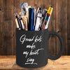 Grandmother or Grandfather Gift Grand-kids Make My Heart Sing Black Ceramic Coffee Mug