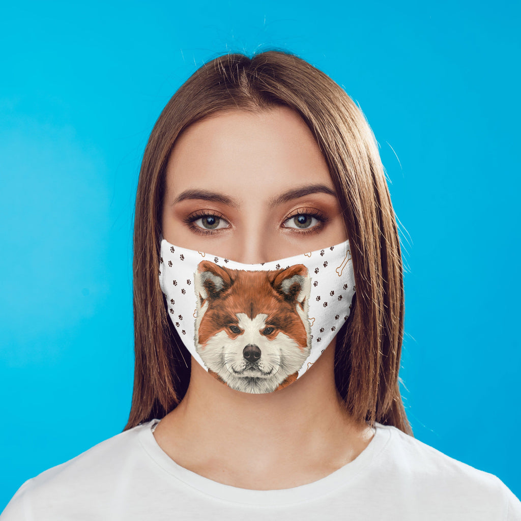 Akita Fabric Face Cover Washable Reusable Sublimation Printed Face Art