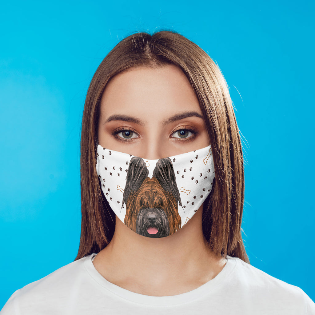 Briard Dog Face Cover Washable Reusable Sublimation Printed Fabric Face Art
