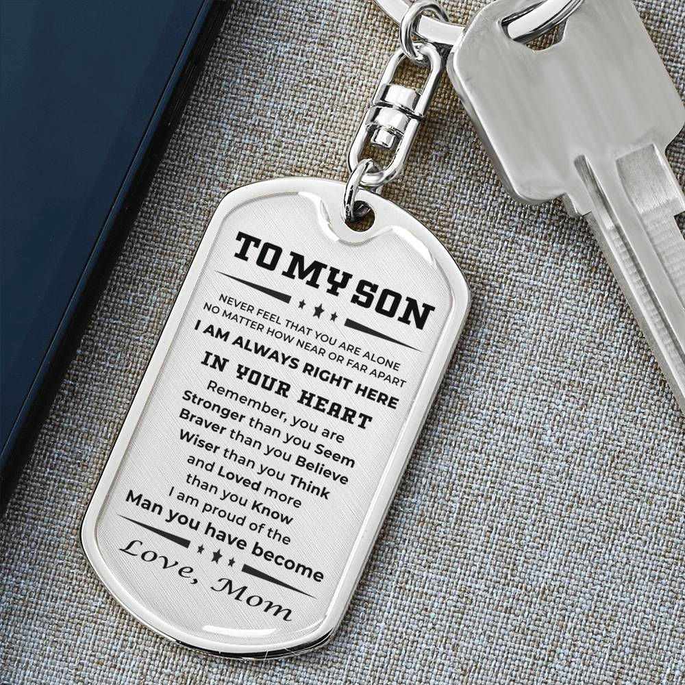 Gift for Son from Mother Personalized Military Style Dog Tag Keychain