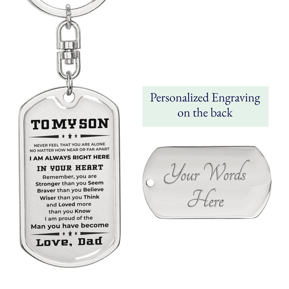 Gift for Son from Dad Personalized Military Style Dog Tag Key Chain