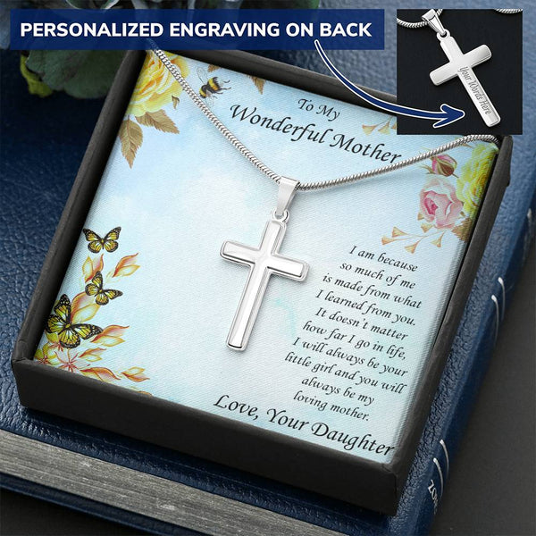 Personalized Cross Pendant Necklace Gift for Mother from Daughter