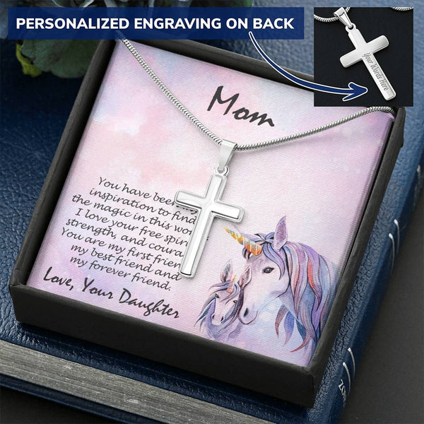 Personalized Cross Pendant Necklace Gift for Mother Unicorn Message