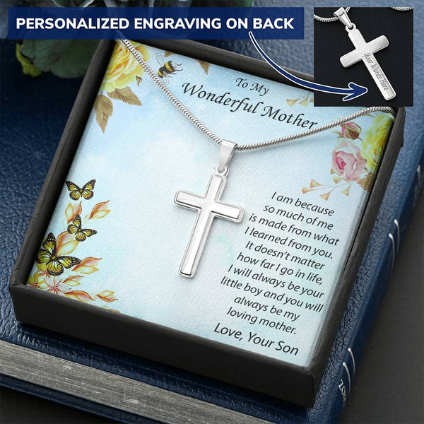Personalized Cross Pendant Necklace Gift for Mother from Son