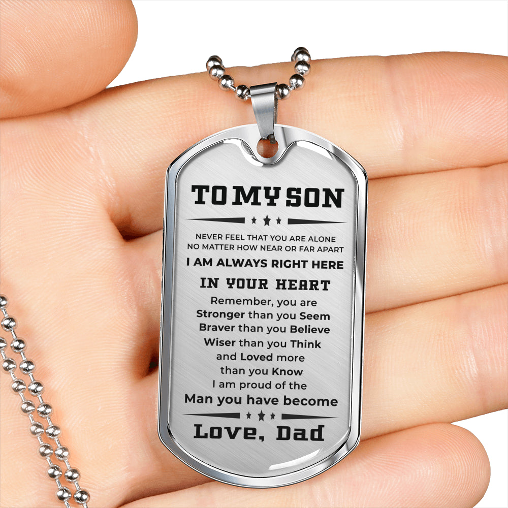 Personalized Engraved Military Style Dog Tag Necklace Gift for Son From Dad