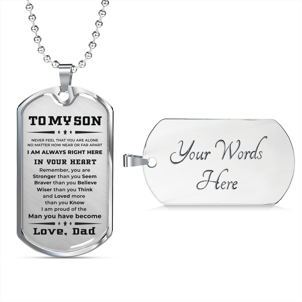 gift for son from dad pendant engraved necklace