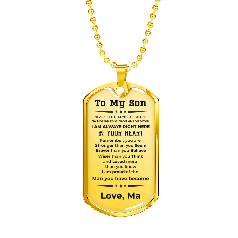 Custom Gift for Son from Mother Military Style Dog Tag Pendant Necklace - Engraved back