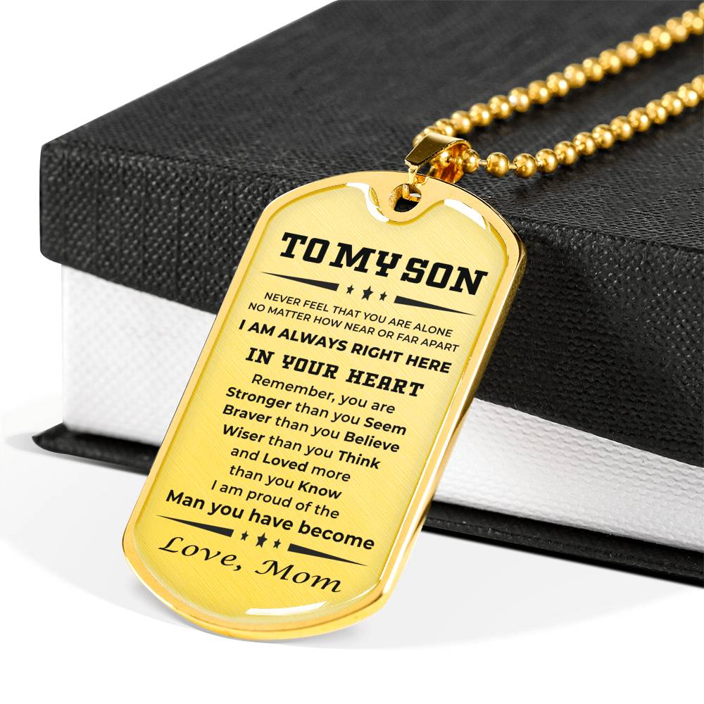 Personalized Engraved Military Style Dog Tag Necklace Gift for Son from Mother