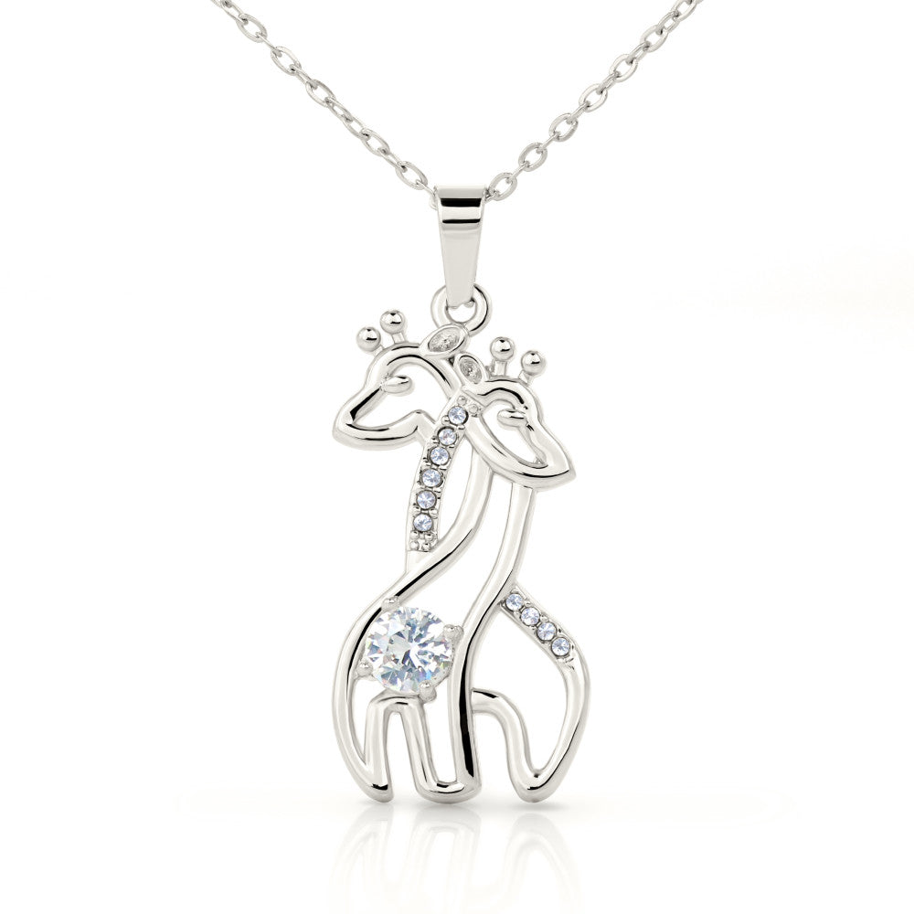 Graceful Love Giraffe Pendant Necklace Gift for Grand-daughter Personalized