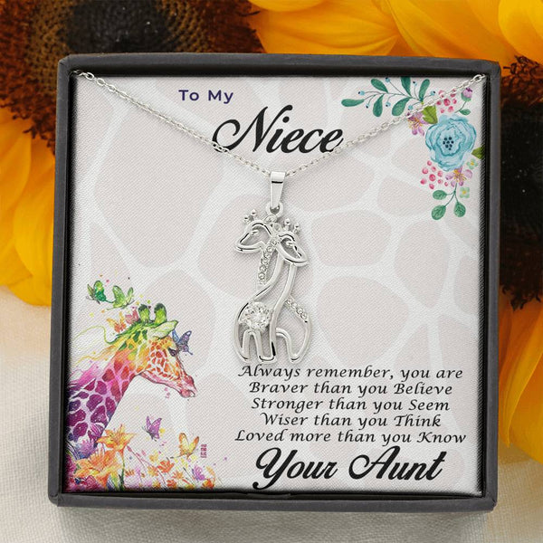 Gift for Niece from Aunt Personalized Graceful Love Giraffe Pendant Necklace