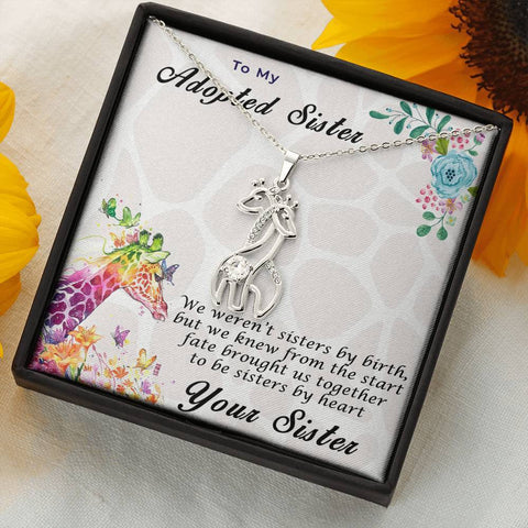 Adopted Sister Gift Giraffe Pendant Necklace Personalized