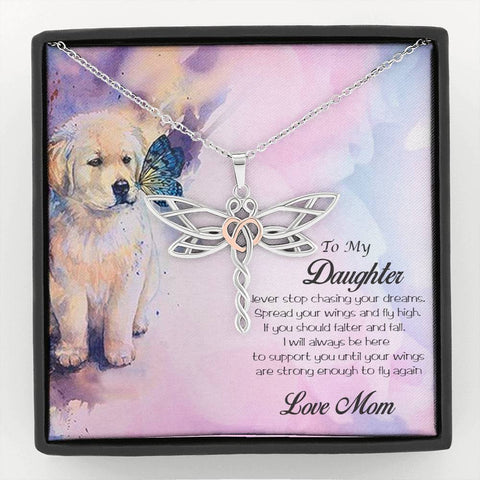 Gift for Daughter from Mother Dragonfly Pendant Necklace Puppy Message Card