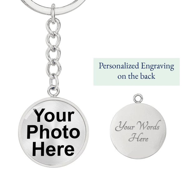 Custom Circle Photo Keychain with optional engraving on back