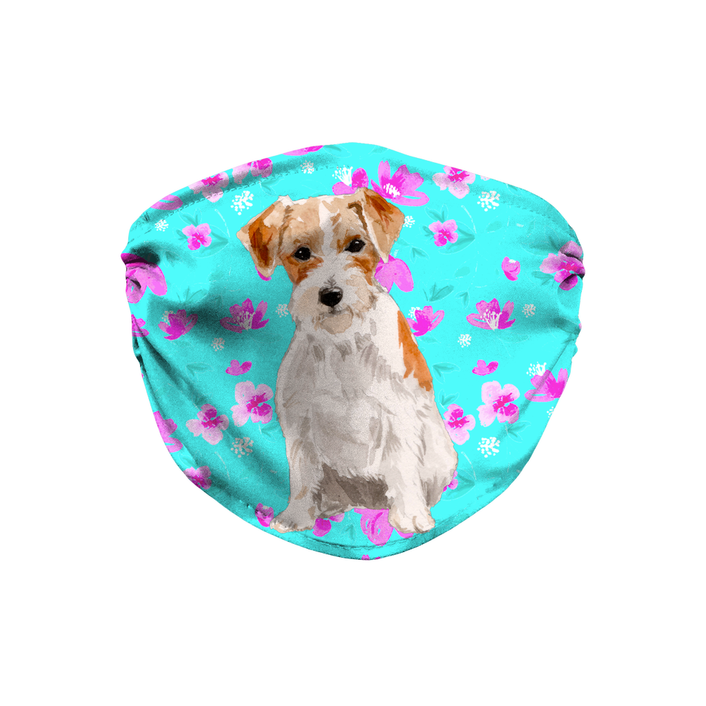Jack Russell Wire-haired Terrier Dog Mint Floral Sublimation Face Mask