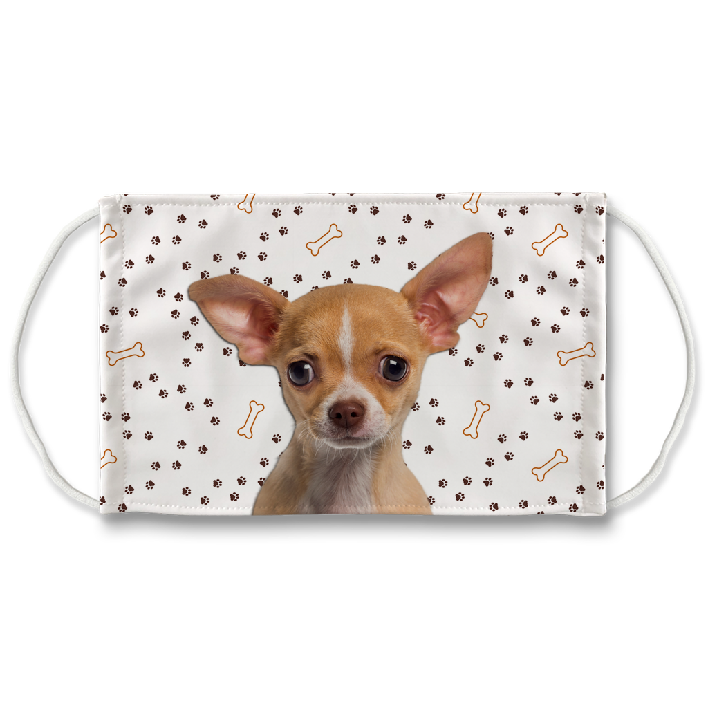 Chihuahua Puppy Tan - Paw Print Sublimation Face Mask