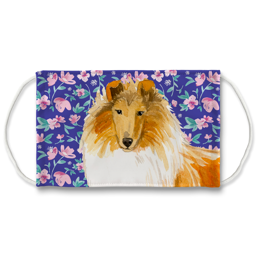 Collie Dog Blue Floral Sublimation Face Mask
