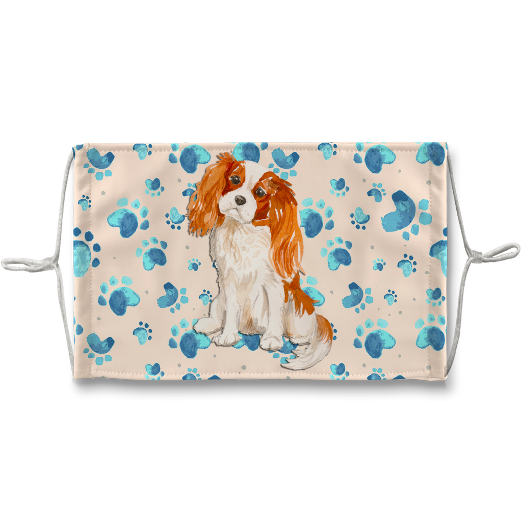 Cavalier King Charles Spaniel Tan Paw Print Sublimation Face Mask