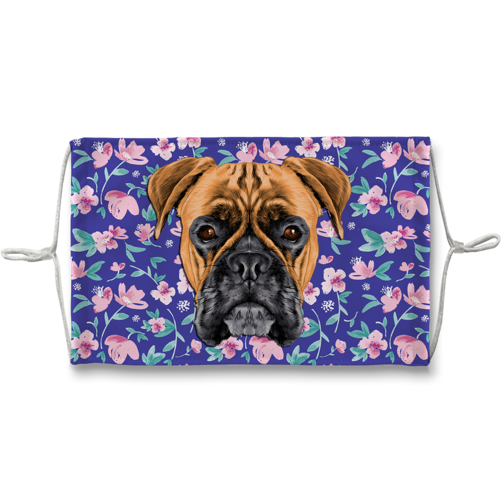 Boxer Dog Watercolor Blue Floral Sublimation Face Mask
