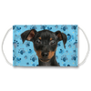Miniature Pinscher Puppy Head - Blue Paw Print Sublimation Face Mask