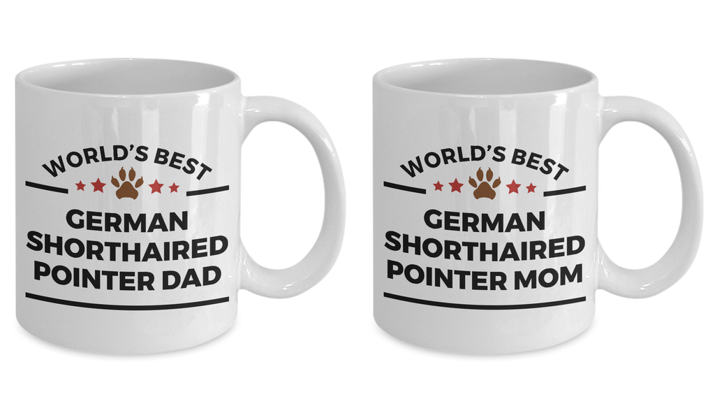 German Shorthaired Pointer Dog Dad and Mom Mugs -Set of 2