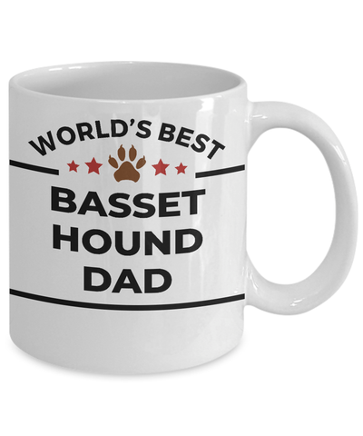 Basset Hound Dog Lover Gift World's Best Dad Birthday Father's Day White Ceramic Coffee Mug