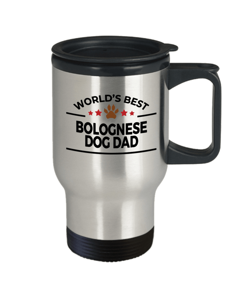 Bolognese Dog Lover Gift World's Best Dad Birthday Father's Day Stainless Steel Insulated Travel Coffee Mug
