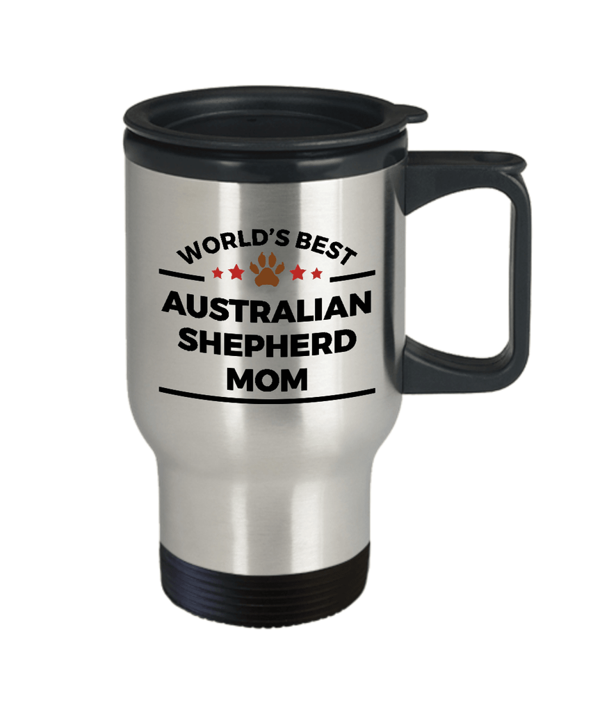Australian Shepherd Dog Lover Gift World's Best Mom Birthday Mother's Day Stainless Steel Insulated Travel Coffee Mug