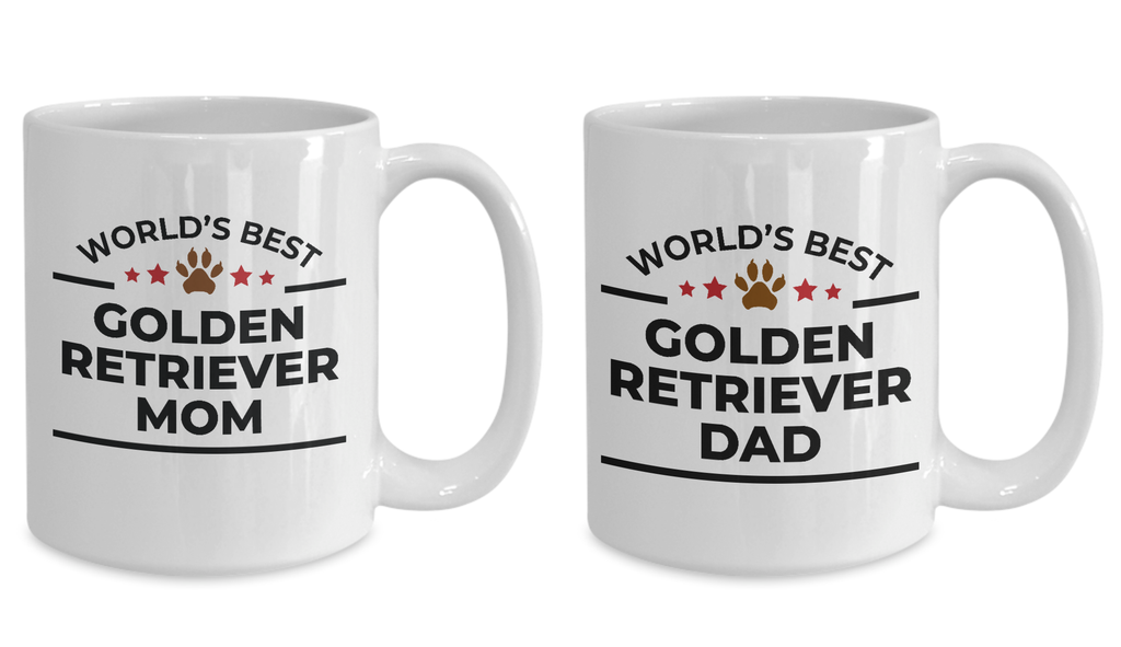 World's Best Golden Retriever Mom and Dad White Ceramic Mugs