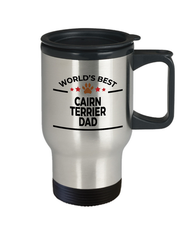 Cairn Terrier Dog Lover Gift World's Best Dad Birthday Father's Day Stainless Steel Insulated Travel Coffee Mug
