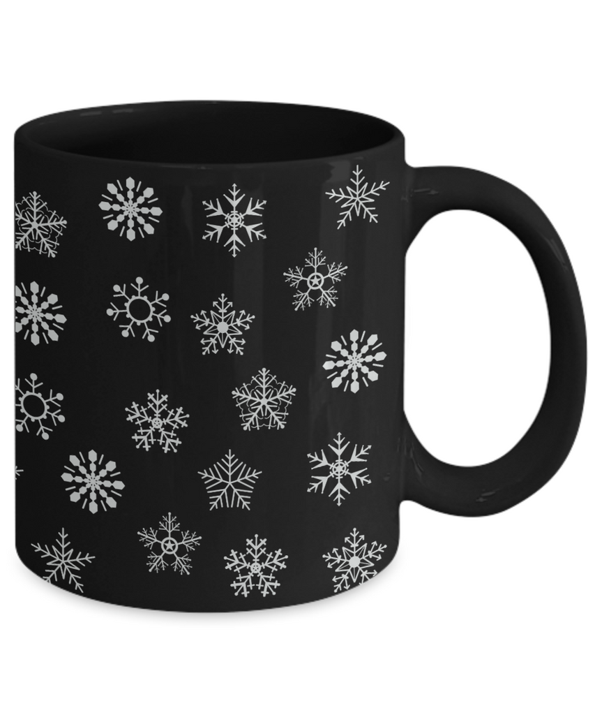 Snowflake Black Ceramic Coffee, Hot Chocolate Mug