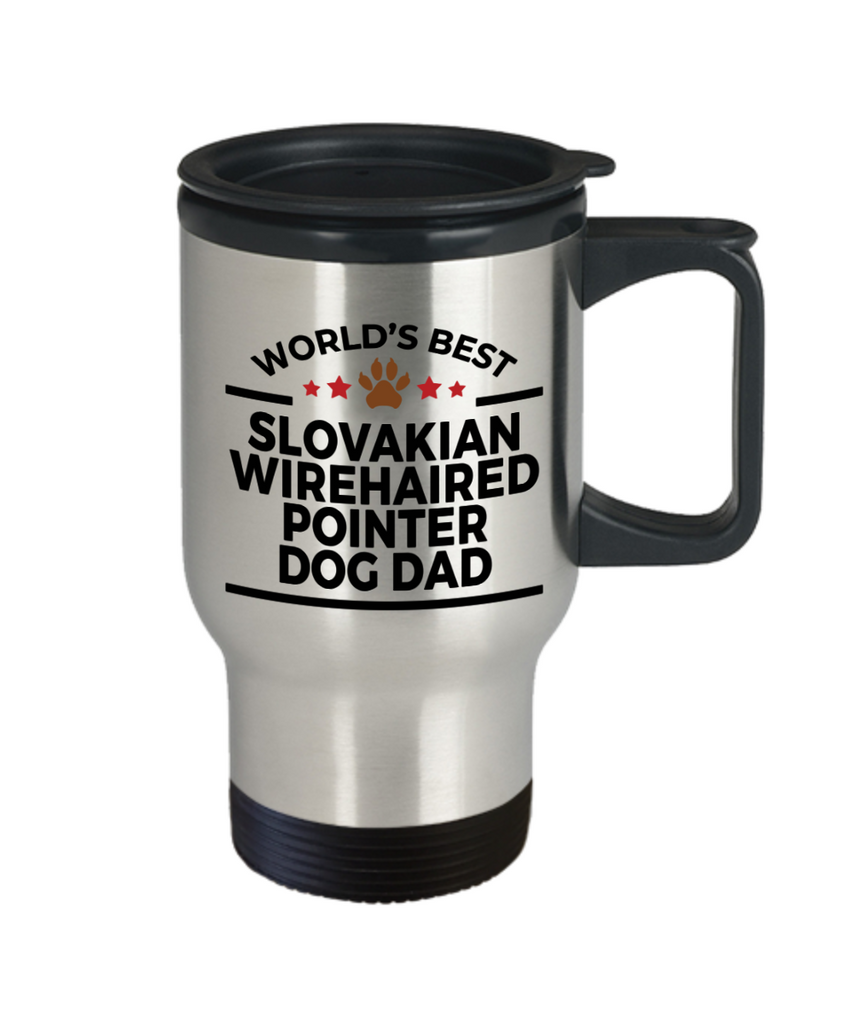 Slovakian Wirehaired Pointer Dog Lover Gift World's Best Dad Birthday Father's Day Stainless Steel Insulated Travel Coffee Mug