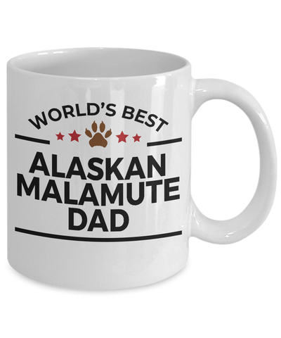Alaskan Malamute Dog Lover Gift World's Best Dad Birthday Father's Day White Ceramic Coffee Mug