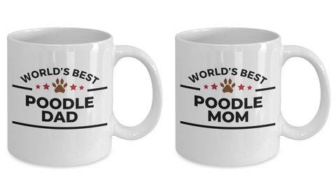 World's Best Poodle Dad and Mom Couple Ceramic Mug - Set of 2 His and Hers