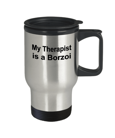 Borzoi Dog Lover owner funny gift therapist stainless steel insulated travel coffee mug