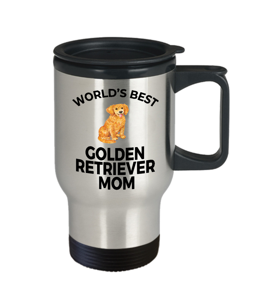 Golden Retriever Dog Lover Gift World's Best Mom Birthday Mother's Day Present Stainless Steel Travel Coffee Tea Mug