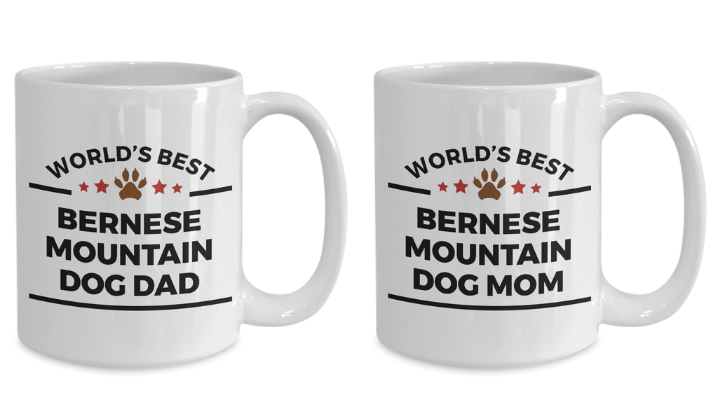 Bernese Mountain Dog Dad and Mom Coffee Mug Set of 2