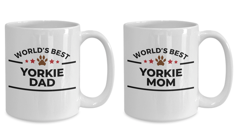 Yorkshire Terrier Dad and Mom Couples Mug - Set of 2 His and Hers
