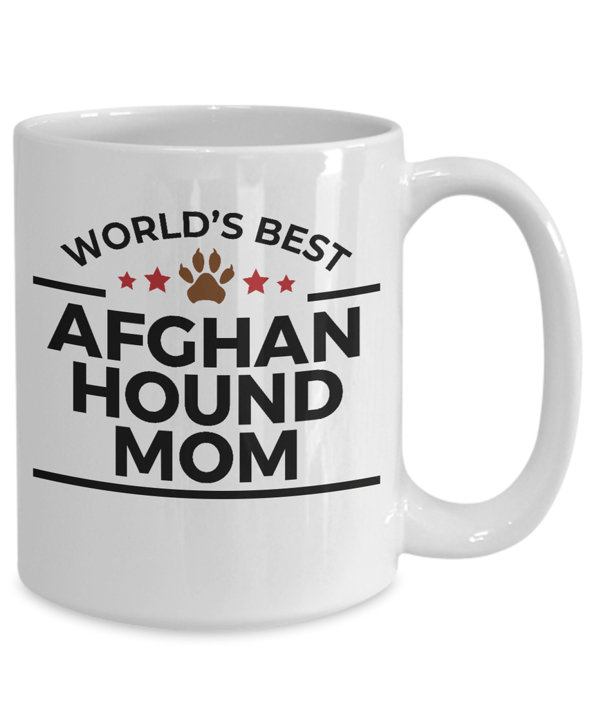 Afghan Hound Dog Lover Gift World's Best Mom Birthday Mother's Day White Ceramic Coffee Mug