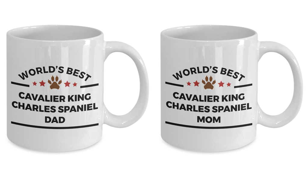 Cavalier King Charles Spaniel Dog Lover Coffee Mug World's Best Dad and Mom Gift Set of 2