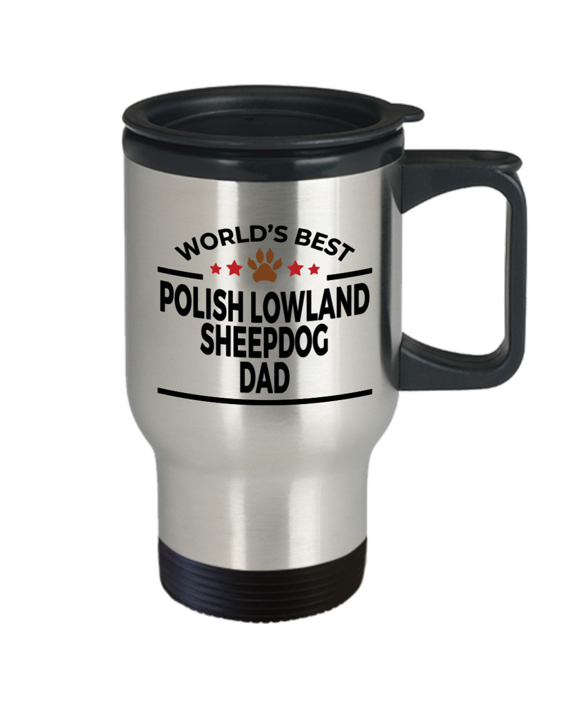 Polish Lowland Sheepdog Dog Lover Gift World's Best Dad Birthday Father's Day Stainless Steel Insulated Travel Coffee Mug
