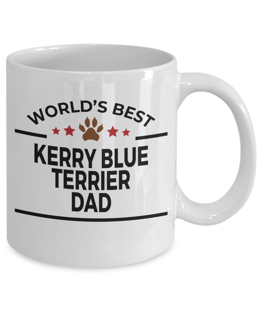 Kerry Blue Terrier Dog Lover Gift World's Best Dad Birthday Father's Day White Ceramic Coffee Mug