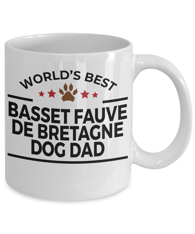 Basset Fauve de Bretagne Dog Lover Gift World's Best Dad Birthday Father's Day White Ceramic Coffee Mug