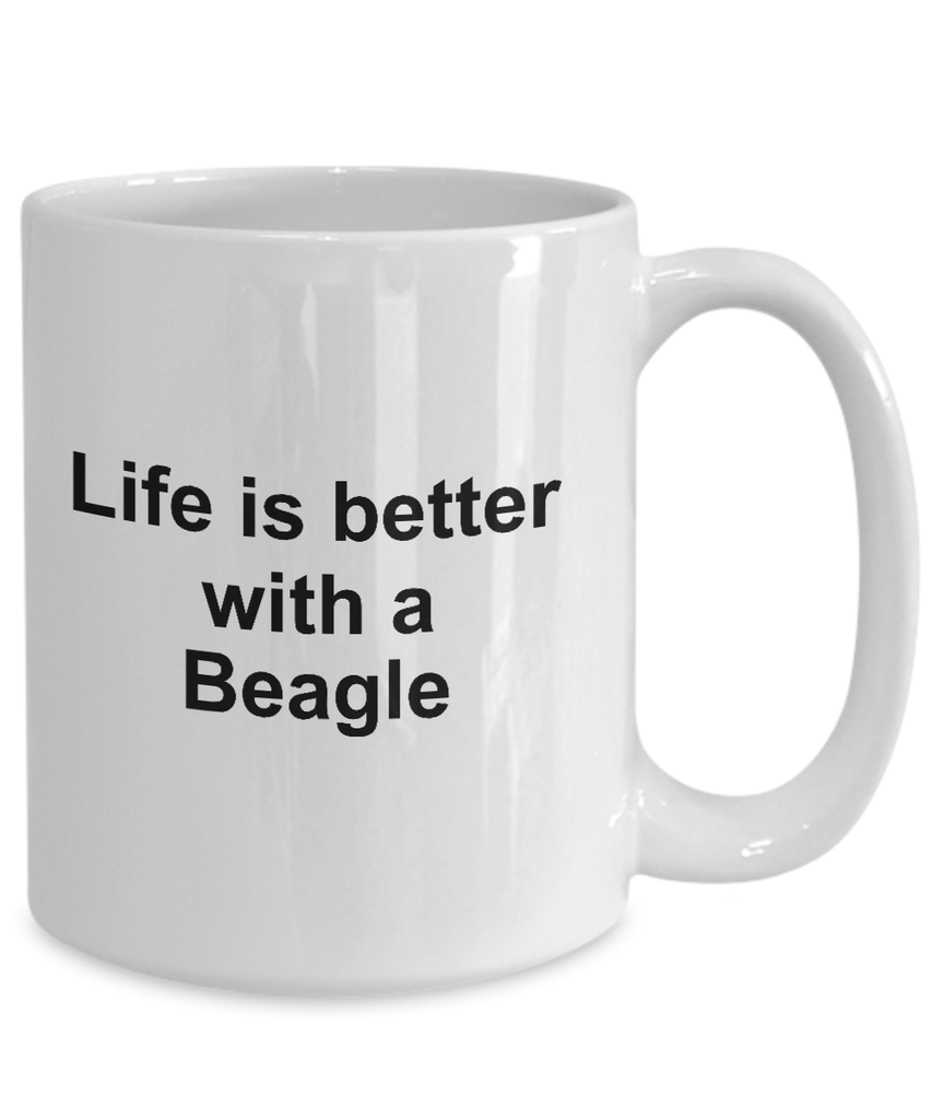 Beagle Dog Lover Gift Life is Better White Ceramic Coffee Mug