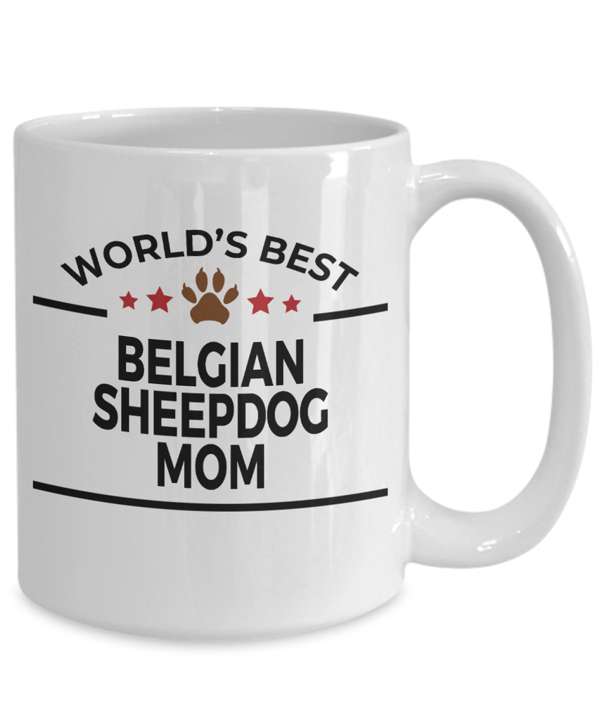 Belgian Sheepdog Dog Lover Gift World's Best Mom Birthday Mother's Day White Ceramic Coffee Mug