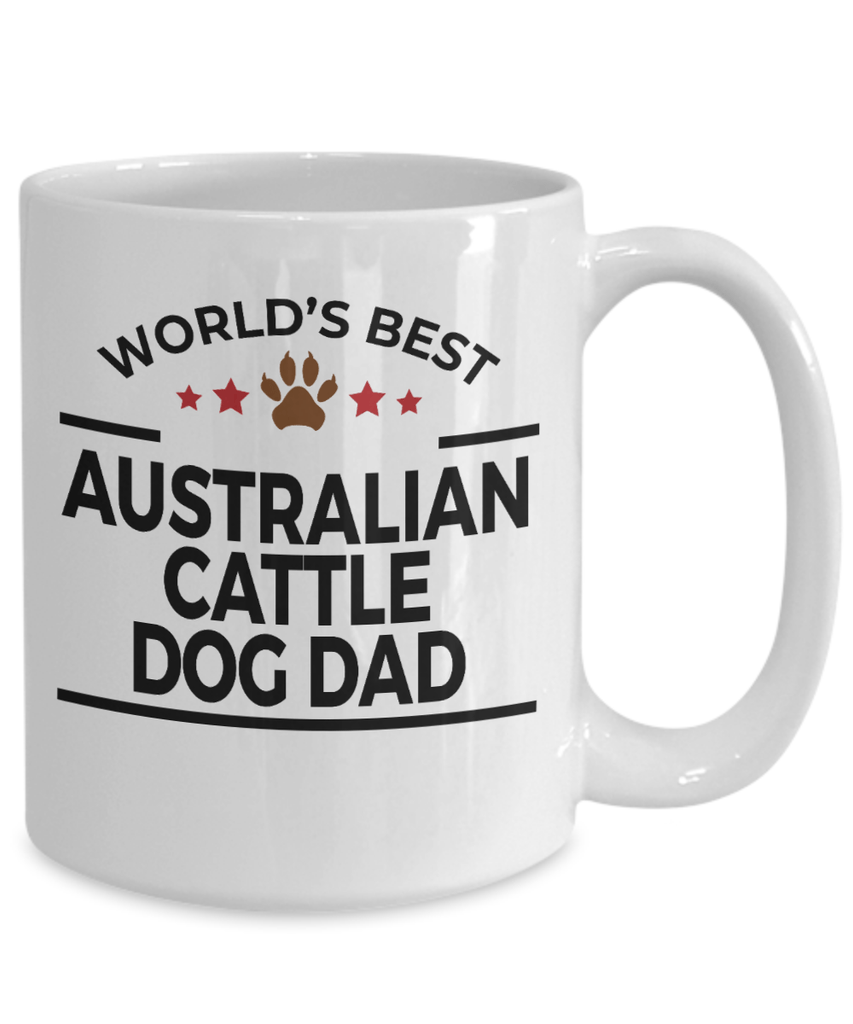 Australian Cattle Dog Lover Gift World's Best Dad Birthday Father's Day White Ceramic Coffee Mug
