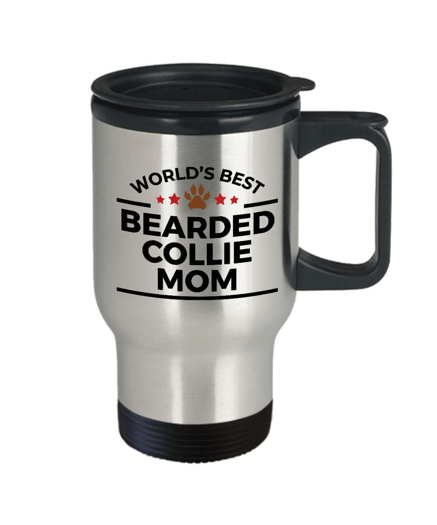 Bearded Collie Dog Lover Gift World's Best Mom Birthday Mother's Day Stainless Steel Insulated Travel Coffee Mug