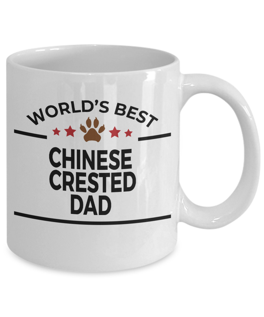 Chinese Crested Dog Lover Gift World's Best Dad Birthday Father's Day White Ceramic Coffee Mug