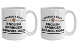 English Springer Spaniel Dog Lover Gift World's Best Dad and Mom Mother's Father's Day Birthday Coffee Mug Set of 2