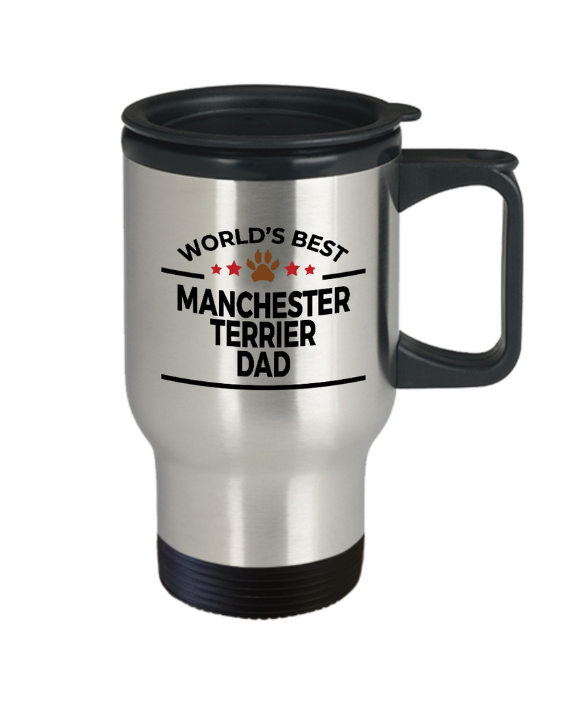 Manchester Terrier Dog Lover Gift World's Best Dad Birthday Father's Day Stainless Steel Insulated Travel Coffee Mug